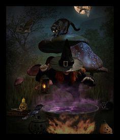 Witch & familiar ( cat )