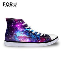 FORUDESIGNS Casual High Top Vulcanized Shoes Woman Fashion Universe Superstar Galaxy Women Lace-up Canvas Shoes Zapatos Mujer