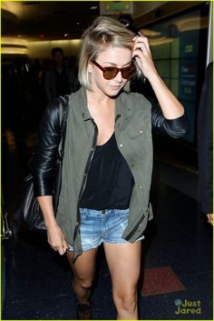 Julianne Hough wears a military jacket with leather sleeves!