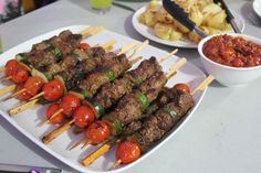 This dish is also known as a shashlik or #shishkebab and it is very popular within #Caucasus.  It is also said that probably kebabs originated in the Caucasus where mountain people speared meat pieces & then cooked them over on open fire. Caucasus where this #dish is mostly made with lamb. #food #enjoy