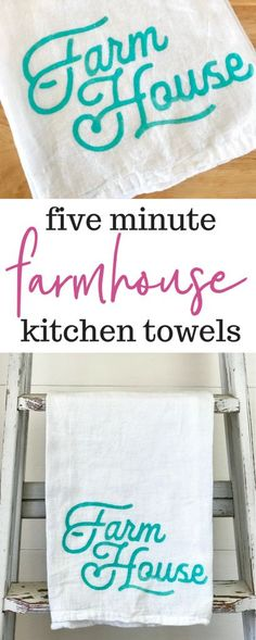 How to Make Farmhouse Kitchen Towels in Five Minutes. How adorable is this! #farmhousekitchen #farmhouse #kitchenideas #farmhousestyle Kitchen Decor Items, Farmhouse Kitchen Decor, Farmhouse Style, Kitchen Ideas, Diy Kitchen, Cottage Style, Rustic Crafts, Decor Crafts, Diy Home Decor