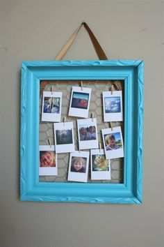I like the idea of using chicken wire and mini clothespins in a frame for a custom picture display. I have a HUGE wicker frame i found in an alley that this idea would be perfect for. Picture Frame Crafts, Collage Picture Frames, Small Photo Frames, Diy Arts And Crafts, Diy Crafts, Decor Crafts, Chicken Wire Frame, Instagram Frame, Jar Gifts