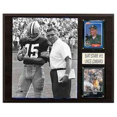 C and I Collectables NFL 15W x 12H in. Bart Starr and Vince Lombardi Green Bay Packers Player Plaque - 1215STARRLOMCOM, CICL1586-1