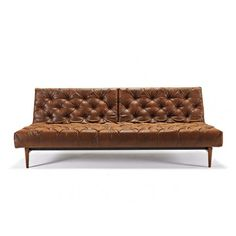 Oldschool Chesterfield Sofa Bed Vintage Brown Leather Textile by Innovation (Innovation USA) Chesterfield Sofa Bed, Leather Chesterfield, Tufted Sofa, Leather Sofa, Brown Leather, Sofa Beds, Couches, Bedroom Couch, Sleeper Sofas