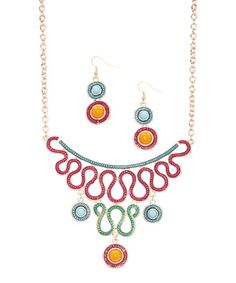 Look at this Pink & Blue Squiggle Bib Necklace & Drop Earrings on #zulily today!
