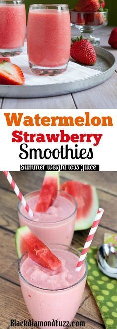 Watermelon strawberry Detox smoothie Recipes for summer weight loss #nutritionfactshealthyeating