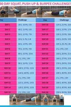 30 day squat, push up and burpee challenge