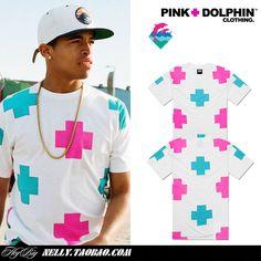 Pink dolphin diamond leopard print dolphin lovers short-sleeve T-shirt west coast male tee $23.26
