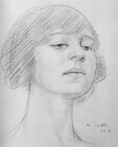Mark Gertler: lovely drawing of Dora Carrington (he was madly and hopelessly in love with her)