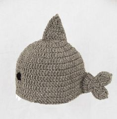 Shark Hat, Gray Crochet Beanie, send size Baby - Adult