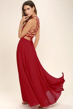 The Strappy to be Here Red Maxi Dress is your new fun go-to! Lightweight Georgette sweeps across this maxi dress with a strappy apron neckline. Lacing open back. Backless Maxi Dresses, Long Maxi Skirts, Red Skirts, Junior Dresses, Cute Dresses, Prom Dresses, Red Maxi, Pink Maxi, Floral Print Maxi Dress