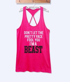 Don't let the pretty face fool you i'ma beast fitness #workout tank top with print -652