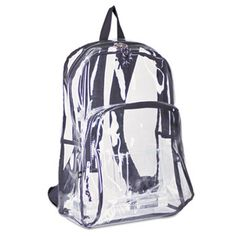 Backpack, PVC Plastic, 12 1/2 x 17 1/2 x 5 1/2, Clear EST193971BJBLK by Eastsport®  this is beautiful