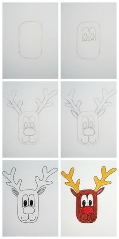 How To Draw A Cartoon Reindeer Face - Christmas Drawings 🎅 Reindeer Drawing, Xmas Drawing, Cartoon Reindeer, Reindeer Face, Drawing For Kids, Drawing Drawing, Drawing Ideas, Easy Christmas Drawings, Christmas Doodles