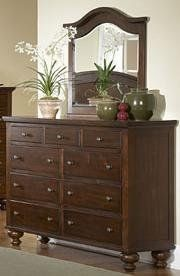 Aris Dresser - Homelegance Furniture Belongs to Aris Collection, Contemporary Style, Large bun feet serve to support the massive yet elegantly simple case pieces, Warm brown cherry finish, Select hardwoods, Metal Glide, Dovetailed Drawer, 9 Drawers, Dresser 1.  #Homelegance #Home