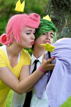 Cosmo and Wanda from The Fairly Oddparents. The floaty crowny things! Cool Halloween Costumes, Halloween Cosplay, Halloween Kids, Awesome Costumes, Cosplay Diy, Best Cosplay, Cosplay Costumes, Cosmo E Wanda, The Fairly Oddparents