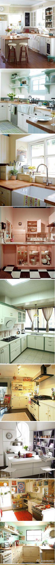 cozinhas...neat ideas, I like the acclectic kitchen