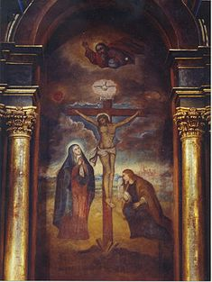 Lord of Miracles  is an image painted of Jesus Christ that is venerated in Lima Peru. It is the main Catholic festivity in Peru and one of the biggest processions in the world.  Christ is shown enduring the pain of crucifixion. Above the cross is the Holy Spirit and God the Father. To the right of Jesus is his mother, the Virgin Mary with her heart pierced by a sword of sorrow and to her right at the foot of the cross is St. Mary Magdalene.  It was painted by a black slave in the 17th…
