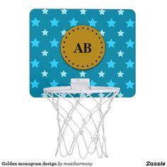 Golden monogram design mini basketball hoop