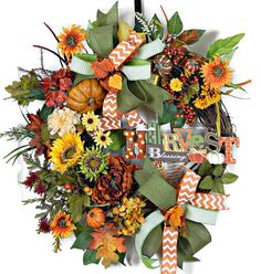 Fall Grapevine Wreath, Sunflower Wreath, Orange Copper Wreath, Harvest Wreath…