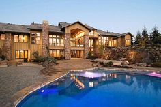 Wood Brick Estate Home W A Gorgeous Pool Houses With Pools