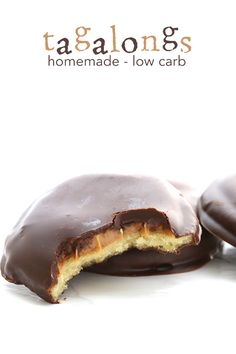 Girl Scout Cookie season may be over, but low carb tagalongsare always in order. Crisp grain-free cookies topped with creamy peanut butter and dipped in chocolate.
