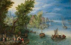 Jan Brueghel the Elder –View of a village on a river (1604). Gezicht op een dorp aan een rivier (1604).