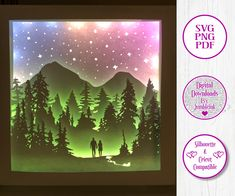 Couple Mountain Forest Walk - 3D Paper Cut Template Light Box SVG Digital Download Files, Shadow Box by Jumbleink on Etsy Svg Cuts, Paper Cutting, Cutting Files, Cricut, Silhouette Projects