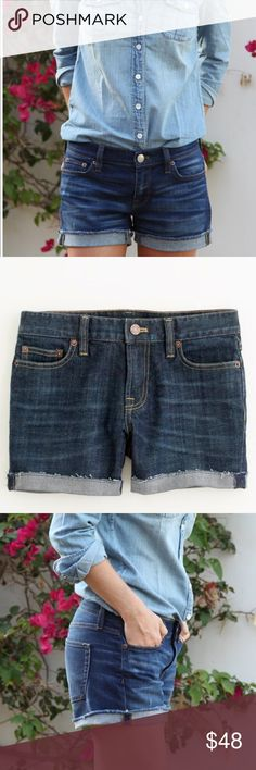 """{J.Crew} 4"""" denim shorts PRODUCT DETAILS Cotton with a hint of stretch. City fit—our lowest rise. Sits just above hip. Zip fly. Traditional 5-pocket styling. 4"""" inseam. Machine wash. Import. Item 16079. Excellent condition , from factory J. Crew Shorts Jean Shorts"""