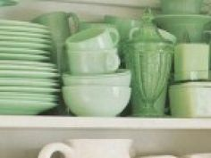 vintage green dishes