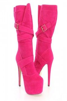 Fuchsia Platform Heel Boots Faux Suede