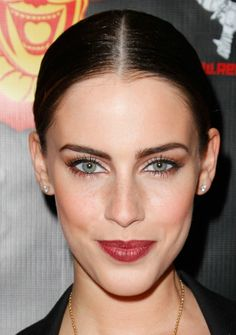 beautiful, less-predictable makeup color palette that Jessica Lowndes is wearing at the premiere of The Devil's Carnival in Los Angeles
