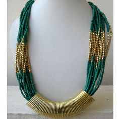 Green and  Golden Beaded Statement Necklace / by FootSoles on Etsy, $27.50