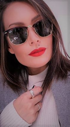 On a bad day, there's always lipstick Cit: #AudreyHepburn  Pic | @kimstyleme on Instagram  Sunnies | Ray-Ban | Clubmaster	 http://www.smartbuyglasses.co.uk/designer-sunglasses/Ray-Ban/Ray-Ban-RB3016-Clubmaster-W0365-52167.html