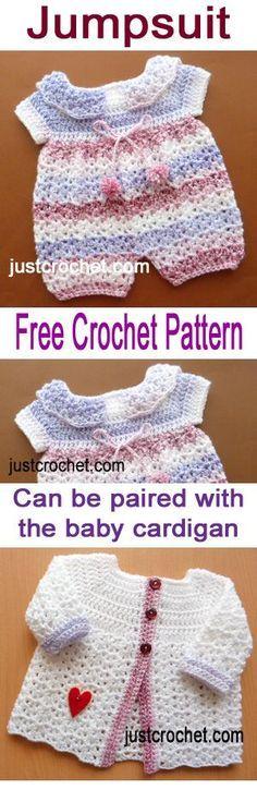 Free baby crochet pattern for jumpsuit. #crochet