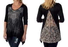 Liberty Wear Zen Henna Lace inset Top  Women's new design shark tail with a sleek v-cut leopard print lace insert. Black with lace and rhinestones embellish this asymmetrical hemmed top.