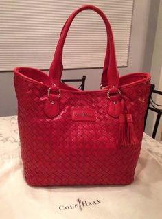 Cole Haan Genevieve Woven Leather Serena Weave Tote Satchel Hand Bag Purse EUC! #ColeHaan #TotesShoppers