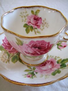I love the roses and their placement of this cup and saucer