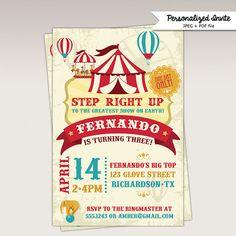 Jahrgang Karneval Zirkus Geburtstagsfeier Einladung Druckbare 320