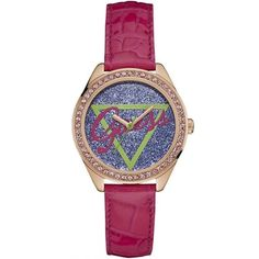 Women's watches – Guess Glitter Logo Dial Rose Gold Case Pink Leather Strap Ladies Watch Furla, Bracelets, Watch Necklace, Bracelet Watch, Pink Watch, Look Chic, Pink Leather, Crystals, Colors
