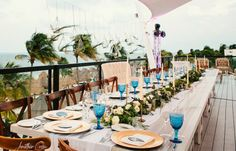 Boho geode wedding reception on Finest Playa Mujeres Sky Bar Terrace. Jonathan Cossu Destination Wedding Photographer