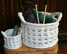 Large Raised Box Stitch Basket - Free Crochet Pattern by Marilyn Clark / 4 You With Love