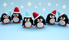 6 Edible Fondant Penguins Cupcake Toppers For Winter Wonderland / OneDerland Themed Birthday on Etsy, $24.00