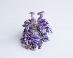 Polymer clay peacock brooch pin in turquoise purple by fizzyclaret