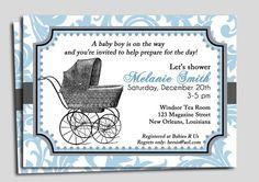 Vintage Baby Shower Invitation Printable - Blue Damask Vintage Stroller Carriage