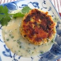 Main Dish Fish and Shellfish: Asian Salmon Cakes with Creamy Miso and Sake Sauce
