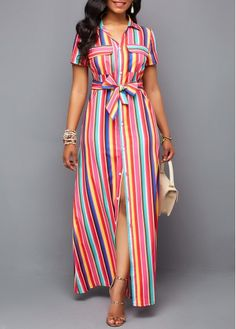 Multi Color Striped Dress Belted Turndown Collar Button Up Maxi Dress Button Up Maxi Dress, Maxi Shirt Dress, Maxi Dress With Sleeves, Short Sleeve Dresses, Long Sleeve Maxi, Hot Dress, Latest African Fashion Dresses, Women's Fashion Dresses, Dresses Dresses