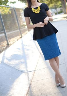 Blue pencil skirt, black peplum and yellow chunky neckace - Anthropologie Church Outfits, Work Outfits, Turquoise Skirt, Teacher Wardrobe, Blue Pencil Skirts, Black Peplum, Anthropologie, Sunday, Success