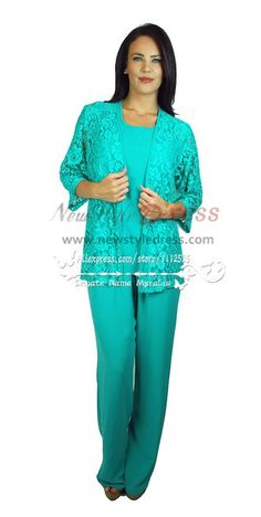 Lake blue 3 PC chiffon pant suit for mother of the bride Dress with lace jacket nmo-173