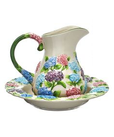 Look at this Hydrangea Figural Floral 2-Qt. Pitcher Set on #zulily today!